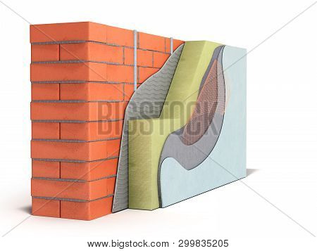 Layered Brick Wall Thermal Insulation Concept 3d Render On White Background