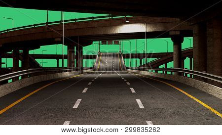 Nigt Road Freeway Travel Concept Route Direction 3d Render On Green Screen