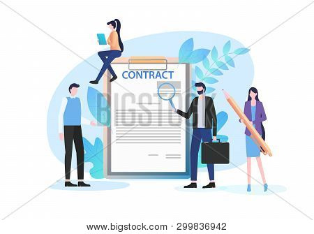 Businessmen Inspect Document With Magnifying Glass Woman Pen Sign Contract Vector Illustration. Busi