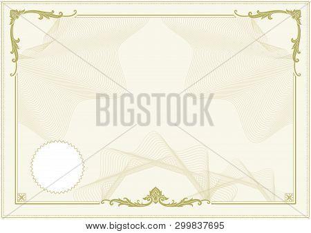 Decorative Border And Frame Template In Square Shape, Vintage Frame Design For Certificate, Diploma,