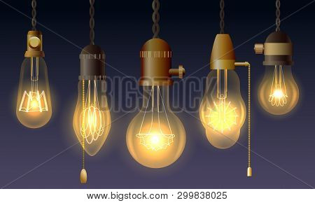 Hanging Retro Light Bulbs. Vector Vintage Luxury Lighting Lamps With Filaments In Antique Edison Wat