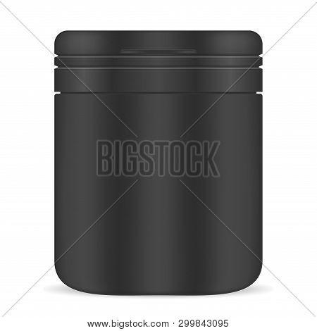 Pill Bottle. Black Plastic Jar. Medicine Supplement. 3d Medical Package Blank. Vitamine Capsule Cont
