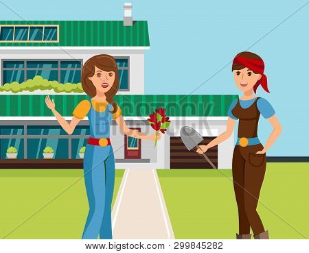 Two Female Neighbours Talking Vector Illustration. Cartoon Girlfriends Sharing Latest News, Gossipin