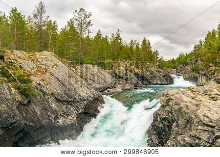 Mountain Wild River Valley Landscape. Landscape Along River Finna In Province Of Oppland, And Polfos