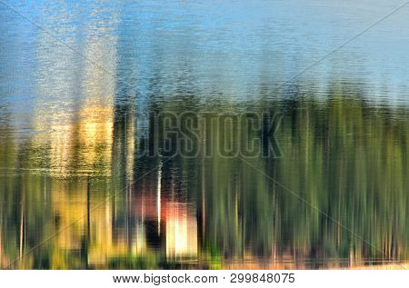 Abstract Landscape , Refections On Water , Light And Colors