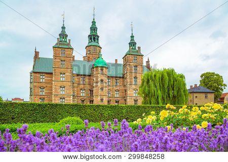 Lavender Flowerbed In Gardens Of Rosenborg Castle In Copenhagen, Denmark. Garden And Rosenborg Palac