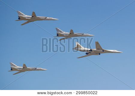 Moscow, Russia - May 07, 2019: Supersonic Strategic Bomber-missile Carrier Tu-160m Accompanied By Lo