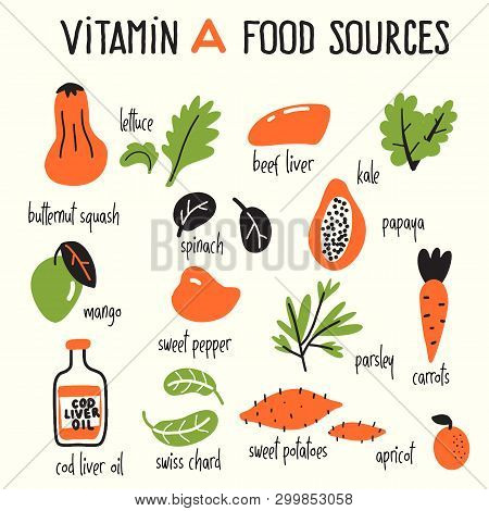 Vector Cartoon Illustration Of Vitamin A Food Sources.