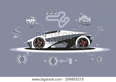 Modern Car Technology Vector Illustration. Sport Automobile