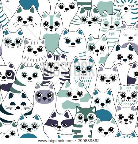 Seamless Pattern With Cats. Big Company Of Cats Of Different Breeds. Vector Background For Fabric, T