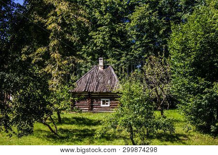 Pushkin mountains. Old village. Travel to Russia. historical places. Russia, Pskov region, the village of Mikhailovskoye August 15, 2017 poster