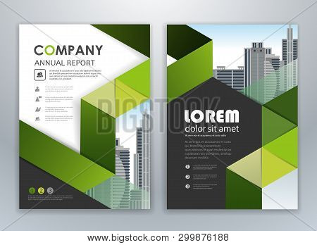 Green Annual Report Leaflet Brochure Flyer Template Design, Book And Magazine Cover Layout Design, A