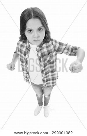 Stop Bullying Movement. Girl Kid Threatening With Fist. Strong Personality Temper. Threaten With Phy