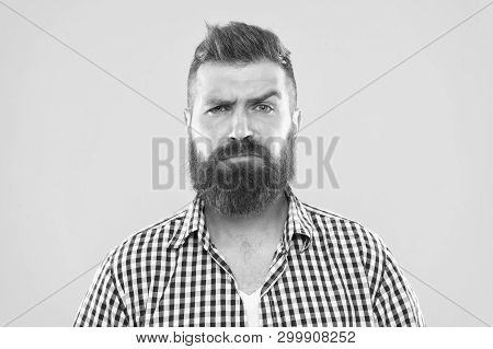 Are You Serious. Man Serious Face Raising Eyebrow Not Confident. Have Some Doubts. Hipster Bearded F