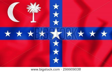 3d South Carolina Sovereignty-secession Flag, Usa. 3d Illustration.