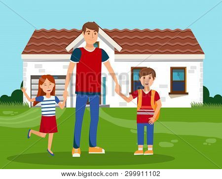 Happy Father With Kids Color Vector Illustration. Young Man With Boy And Girl Standing Near House Ca