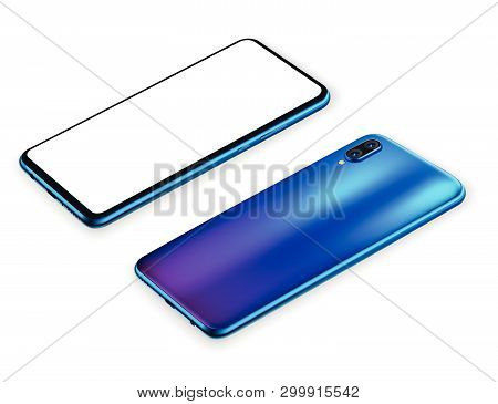 Smartphone Mockup Vector Illustration For Technology Advertising Element And Easy Place Demo On Scre