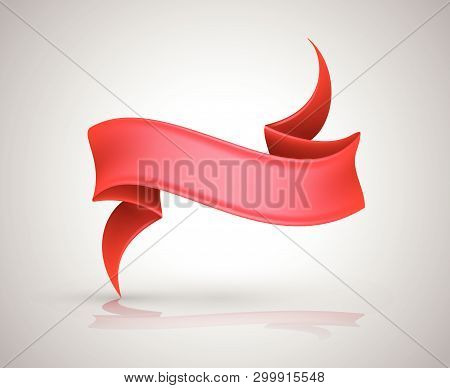 Red Ribbon Banners Collection For Illustration Holiday Poster And Card. Vector Element For Christmas