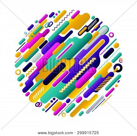 Circle Abstract Funny Colours Modern Style. Vector Illustration.