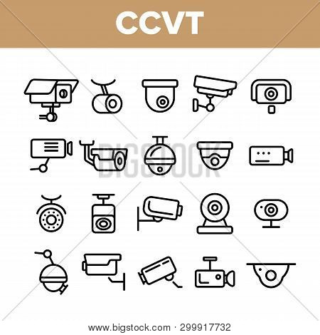 Surveillance Cameras, Cctv Linear Icons Vector Set. Security System, Cctv Thin Line Illustrations Co