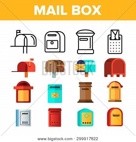 Mail Box, Post Linear And Flat Vector Icons Set. Mailboxes, Sending Letters, Correspondence Illustra