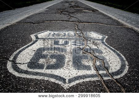 The Famous Route 66 Painted On The Road