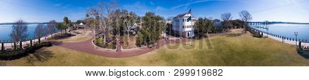 360 degree seamless panorama of waterfront park and downtown in Beaufort, South Carolina.