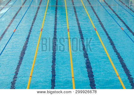 Clear Transparent Swimming Pool Water.  Swim Lanes In Olympic Swimming Pool