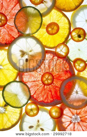 Sliced citrus fruits background