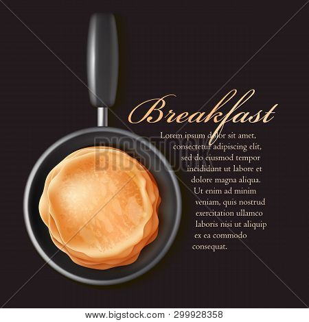 Hot Puncakes On Black Pun. Classic Russian Food. Slapjacks. Shrovetide Or Pancake Week.