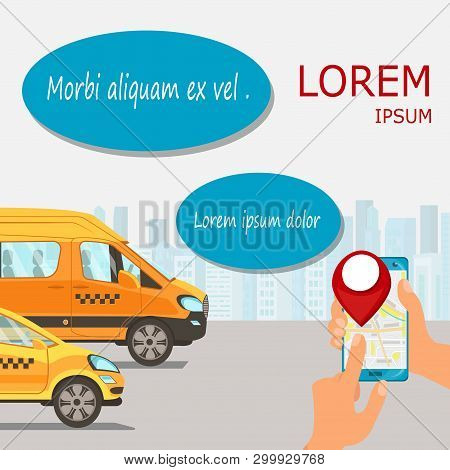 Online Taxi Service Advertising Flat Illustration. Call Cab, Van. Automobile Tracking, Booking Appli