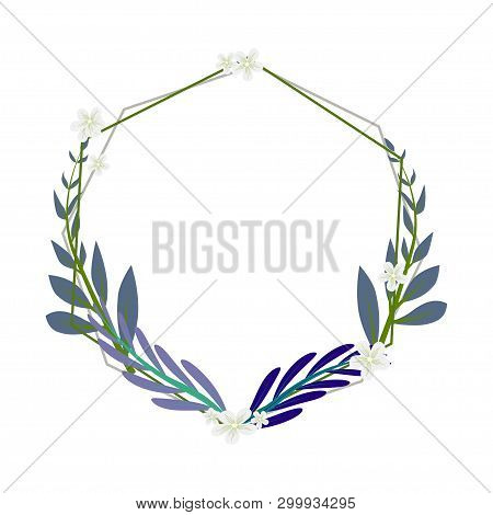 Elegant Wedding Floral Invitation With A Golden Geometric Flame Elegant Rustic Template.