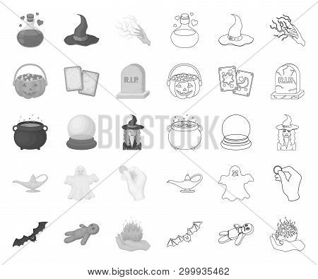 Mono, Outline And White Magic Mono, Outline Icons In Set Collection For Design. Attributes And Sorce