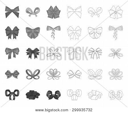 Multicolored Bows Mono, Outline Icons In Set Collection For Design.bow For Decoration Vector Symbol