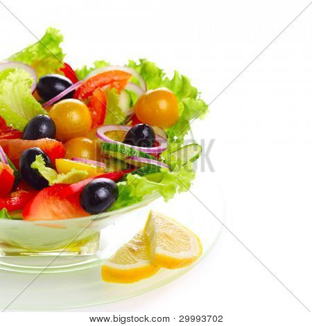 Fresh vegetable salad (tomato, peppers, cucumber, onion, olive)