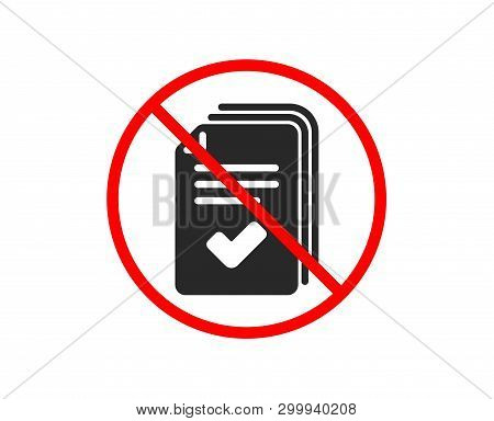 No Or Stop. Handout Icon. Documents Example Sign. Prohibited Ban Stop Symbol. No Handout Icon. Vecto