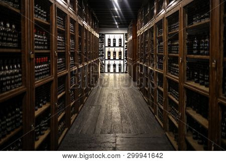 Funchal, Madeira, Portugal - April 23, 2018: Museum - Repository Of Expensive Vintage Wine Madera. L