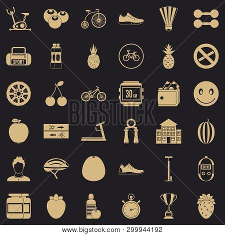 Muscle icons set. Simple style of 36 muscle vector icons for web for any design poster