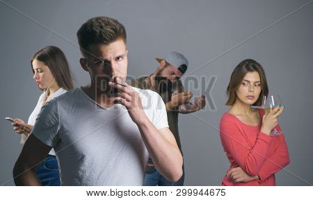 pernicious habits: smoking cigarette, alcohol drinking, mobile phone dependency and drug addict. bearded hipster use drug. young girl drink wine. woman concentrated in weblog online. man smoke. bad. poster