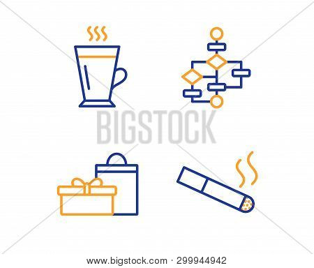 gifts, block diagram and latte icons simple set  smoking sign  birthday  boxes,