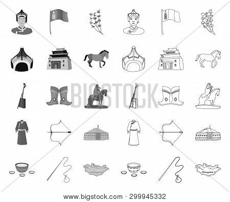 Country Mongolia Mono, Outline Icons In Set Collection For Design.territory And Landmark Vector Symb
