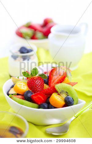 Breakfast- fresh salad with fruits and berries, tea and yogurt