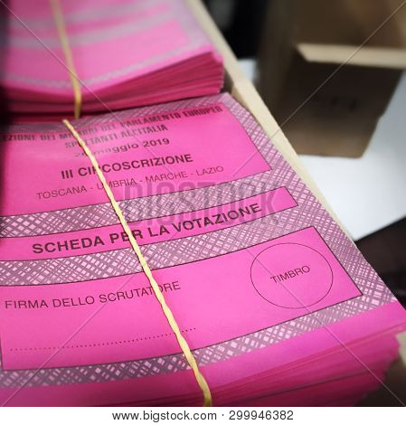 Rome, Italy, May 7 2019: A Stack Of Italian Ballot Papers For The European Elections Of 26 May 2019.