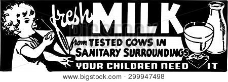 Fresh Milk - Retro Ad Art Banner