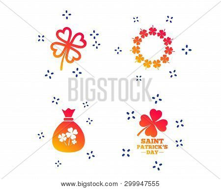 Saint Patrick Day Icons. Money Bag With Clover Sign. Wreath Of Quatrefoil Clovers. Symbol Of Good Lu