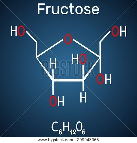 Fructose, Alpha-d-fructofuranose Molecule. Cyclic Form. Structural Chemical Formula On The Dark Blue