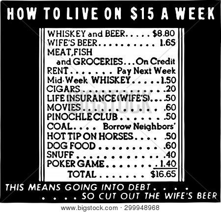 How To Live On 15 A Week - Retro Ad Art Banner