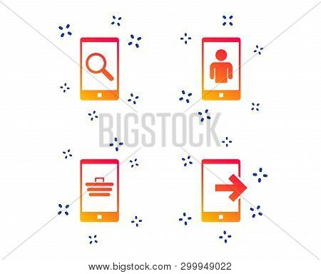 Phone Icons. Smartphone Video Call Sign. Search, Online Shopping Symbols. Outcoming Call. Random Dyn