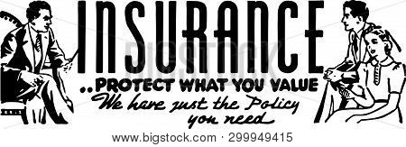 Insurance - Retro Ad Art Banner For Protection