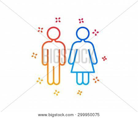 Restroom Line Icon. Wc Toilet Sign. Public Lavatory Symbol. Gradient Design Elements. Linear Restroo